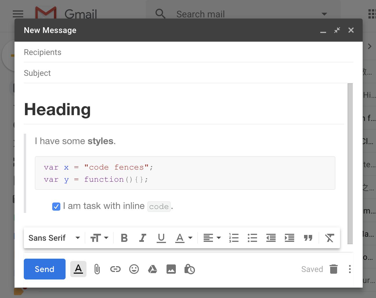 粘贴到Gmail中(将粘贴具有丰富样式的内容)