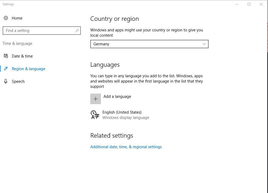 Windows 10语言和地区